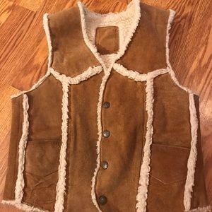 Vintage leather fleece lined vest